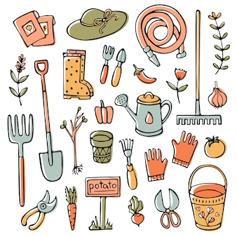 Doodle tuinset gereedschappen en elementen Premium Vector