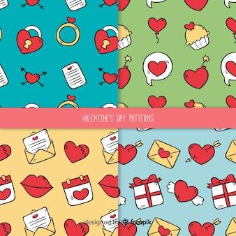 Doodle valentijn patroon pack