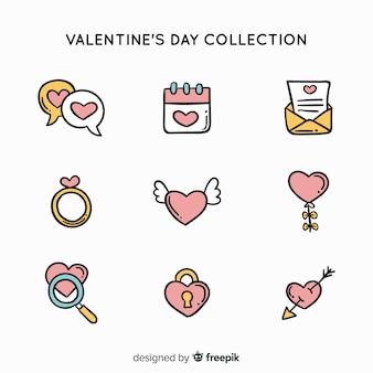 Doodle valentijnsdag elementen