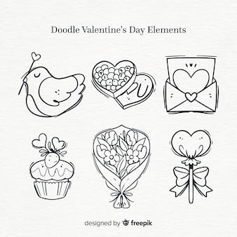 Doodle valentine elementen pack