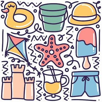 Doodle van handgetekende strandgereedschappen met design iconen en elementen