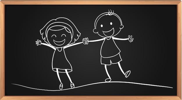 Doodle van jongen en meisje hand in hand