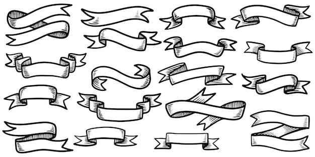 Doodle van lint banner illustraties geïsoleerd op een witte achtergrond. hand getekende vectorillustratie.