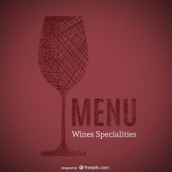 Doodle van wijnen specialiteiten menu kunst