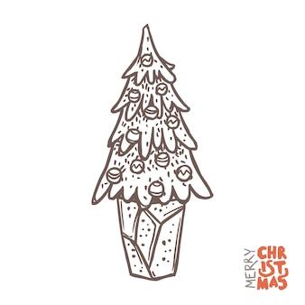 Doodle vector kerstboom met decoratie in de pot.