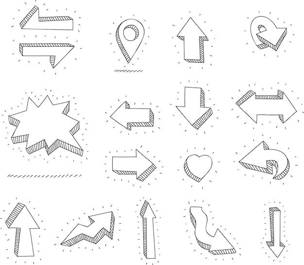 Doodle vector pijlen en ontwerpelementen hand getekende set pictogrammen frames grenzen pijlen
