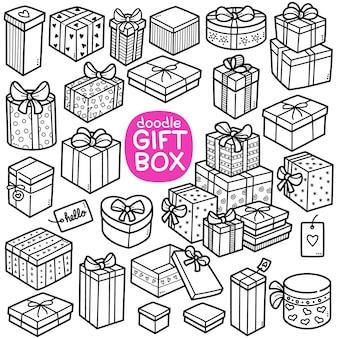 Doodle vector set geschenkdoos