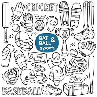 Doodle vector set vleermuis en bal gerelateerde sporten zoals honkbal en cricket