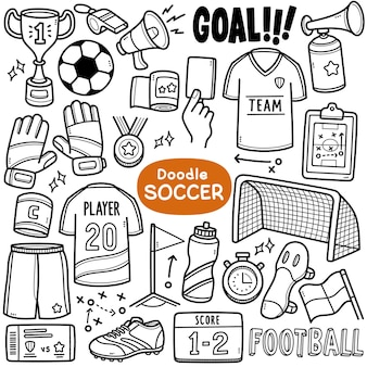 Doodle vector set voetbal gerelateerde apparatuur zoals voetbal jersey doelpunt score enz