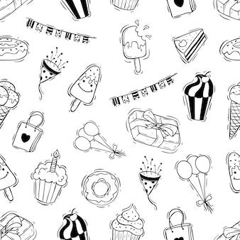 Doodle verjaardag partij pictogrammen in naadloos patroon
