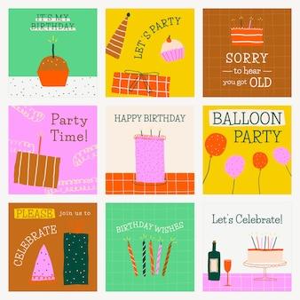 Doodle verjaardagsfeestje sjabloon leuke social media berichtenset