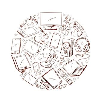 Doodle video en computer elektronisch apparaat hand getekende illustratie.
