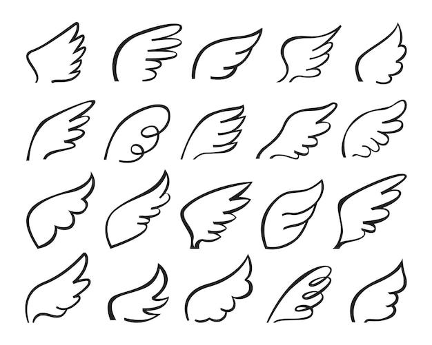Doodle vliegende engelenvleugels logo gestileerde schets veren tattoo overzicht tekening set