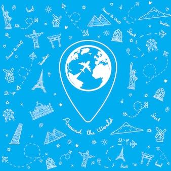 Doodle vliegtuig over de hele wereld met reiselementen