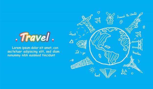 Doodle vliegtuig rond de wereld concept zomer banner vliegtuig luchtfoto in met top wereldberoemde bezienswaardigheid.