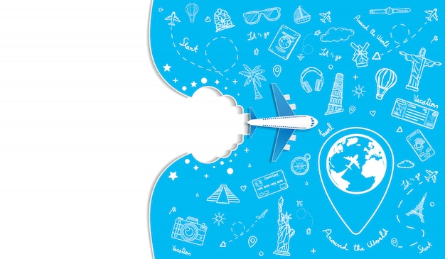 Doodle vliegtuig rond de wereld concept zomer banner vliegtuig luchtfoto inchecken met top wereldberoemde bezienswaardigheid.