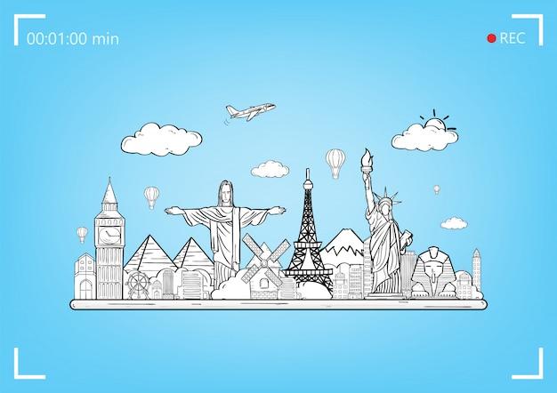 Doodle vliegtuig rond de wereld concept zomer vliegtuig luchtfoto check-in met top wereld beroemde bezienswaardigheid.