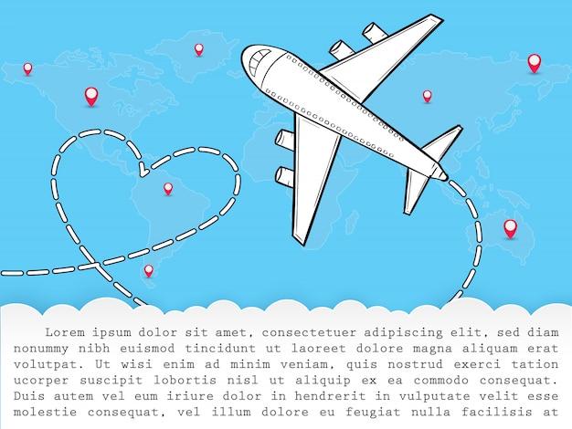Doodle vliegtuig rond de wereld zomer banner vliegtuig antenne.