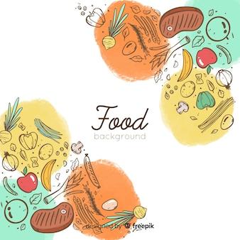 Doodle voedsel achtergrond