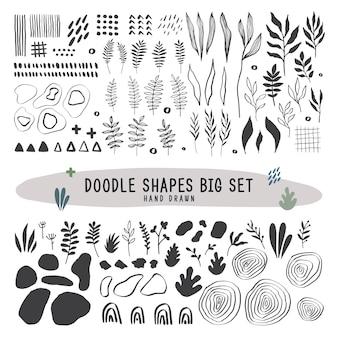 Doodle vormt grote set handgetekende platte vectorillustraties
