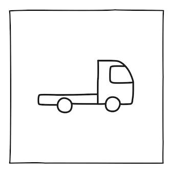 Doodle vrachtwagen pictogram, hand getekend met dunne lijn, geïsoleerd op een witte achtergrond. vector illustratie.