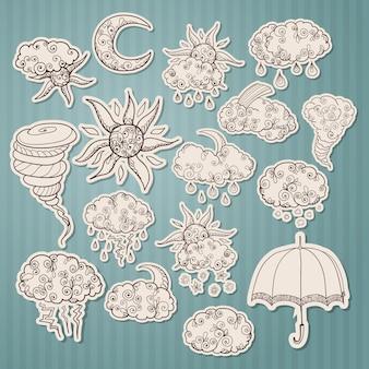 Doodle weersvoorspelling stickers