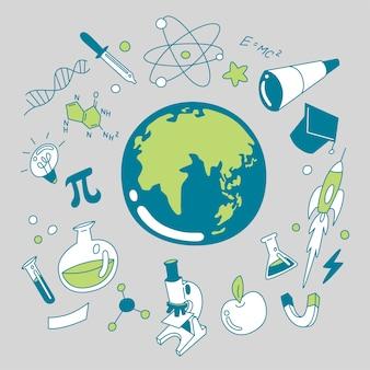 Doodle wetenschap pictogrammen instellen