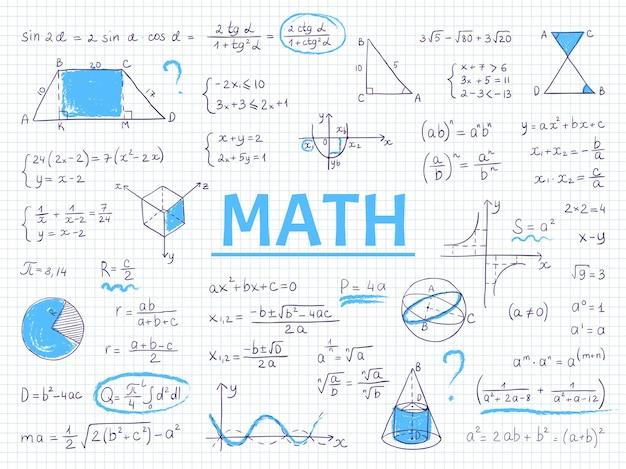 Doodle wiskunde. algebra en meetkunde schoolvergelijking en grafieken, handgetekende fysica wetenschappelijke formules.