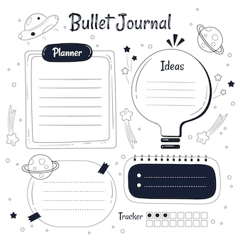 Doodled bullet journal planner-sjabloon