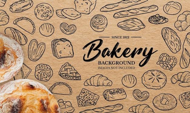 Doodles achtergrond voor bakkerij