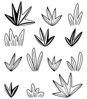 Doodles collectie van abstracte struiken. hand getrokken vectorillustraties. zwarte omtrek botanische elementen geïsoleerd op een witte achtergrond.