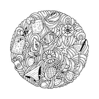 Doodles in een cirkel rond het thema zomer.