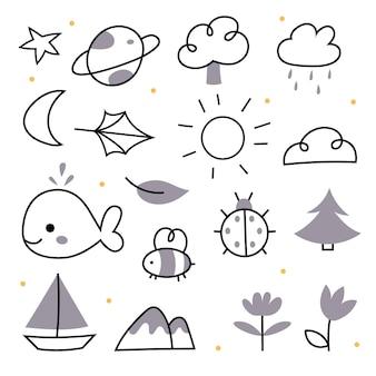 Doodles van de natuur in een lineaire stijlster planeet boom zon maan blad wolk dolfijn vis bij