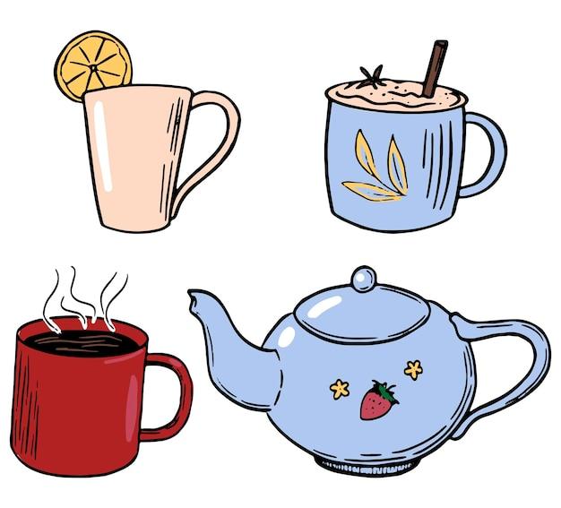 Doodles van schattige theepot, mokken, kopjes. koffie, thee, warme dranken. hand getekende vector illustraties collectie. gekleurde elementen geïsoleerd op wit voor ontwerp, decor, prenten, stickers, kaart.