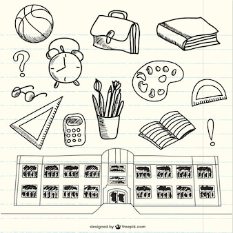 Doodles van schoolbenodigdheden op notebook