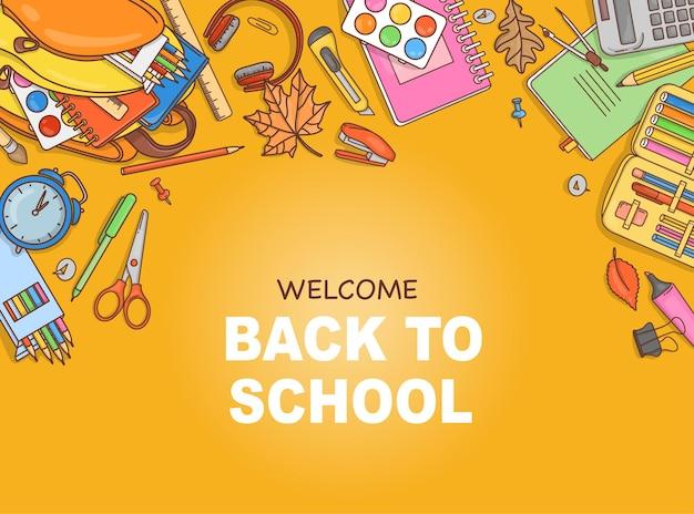 Doodlestyle poster met schoolspullen en briefpapier en een plek voor je tekst