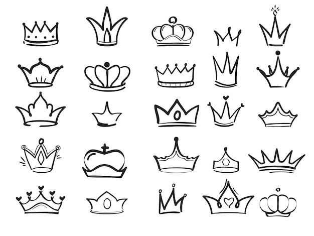 Doodling kroon. inkt hand getekende symbolen van koning elegante keizerlijke monarch vector inkt kunst