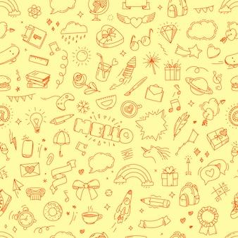 Doodling naadloos kinderachtig patroon