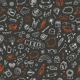 Doodling naadloos patroon