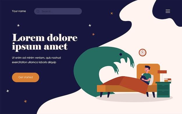 Doodsbang kind bang voor monsterschaduw. jongen zit in zijn bed 's nachts platte vectorillustratie. jeugd, nachtmerrie, probleemconcept voor banner, websiteontwerp of bestemmingswebpagina