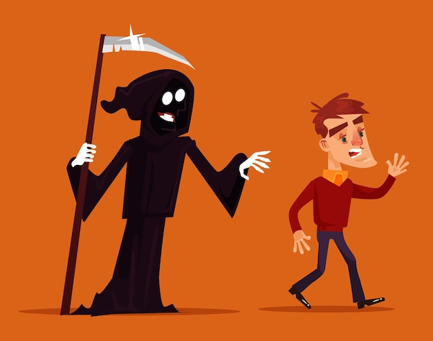 Doodskarakter die achter enge mensenmascotte jagen. platte cartoon afbeelding