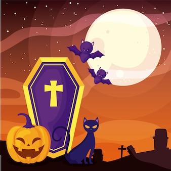 Doodskist met christelijk kruis op begraafplaatsscène
