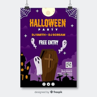 Doodskist met spoken halloween party flyer