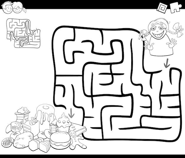 Doolhof activiteitsspel met meisje en snoepjes