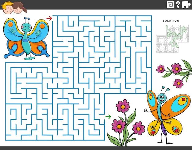 Doolhof educatief spel met cartoon vlinders en bloemen