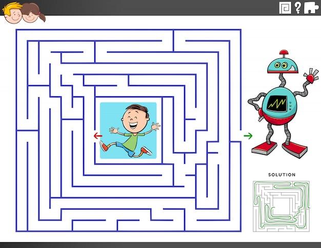 Doolhof educatief spel met jongen en speelgoedrobot