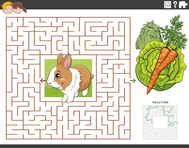 Doolhof educatief spel met konijn met wortel en sla
