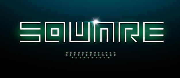 Doolhof futurisme alfabet vierkante architect verbluffende lettertype cybertechnologie type voor moderne futuristische