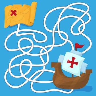 Doolhof in cartoon-stijl. de schepen van christoffel columbus. het spellabyrint voor kinderen. kinderen puzzel. vector illustratie