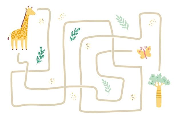 Doolhof met schattige afrikaanse dierengiraf voor kinderen. labyrintspel voor kinderen. mind activiteiten illustratie.